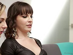 Dahlia Sky and Dana DeArmond are playing with sex toys and enjoying it a lot